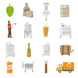 Brewery Icons Set. Brewery Vector Illustration. Brewery Flat Symbols. Brewery Design Set. Brewery Elements Collection Royalty Free Stock Images