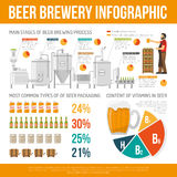 Brewery Infographic Set. Brewery Flat Illustration. Brewery And Beer Vector. Brewery Production Information Royalty Free Stock Images