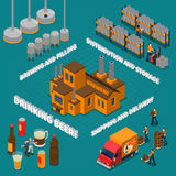 Brewery Isometric Composition. With beer drinking symbols isolated vector illustration Stock Photography
