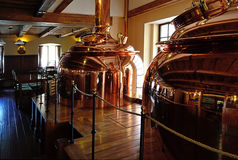 Brewery. Kettles in microbrewery in Banska Staivnica, Slovakia Stock Photo