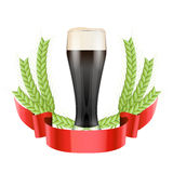 Brewery Label with dark beer glass and green malt Stock Image