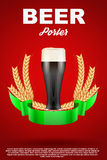 Brewery Label with dark beer glass and malt Stock Photography