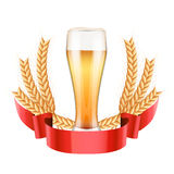 Brewery Label with light beer glass and malt Royalty Free Stock Photos