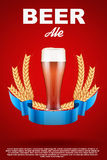Brewery Label with red beer glass and malt Stock Images