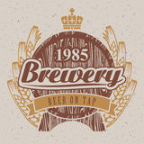 Brewery. Logo for the brewery with a barrel of beer and wheat ears Stock Photo