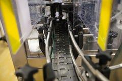 brewery Nastro trasportatore vuoto per le bottiglie di vetro fotografie stock