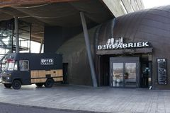Brewery and Restaruant Bierfabriek in Almere, The Netherlands. Brewery and Restaurant Bierfabriek in Almere, The Netherlands. Foodtruck in front of the brewery/ stock images