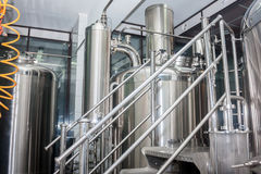 Brewery. Stainless steel equipment. Stainless steel equipment of brewhouse Royalty Free Stock Photos
