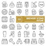 Brewery thin line icon set, beer symbols collection, vector sketches, logo illustrations, ale signs linear pictograms royalty free illustration