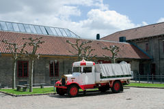 Brewery truck. Old Carlsberg brewery building with the car. Copenhagen, Denmasrk Stock Photo