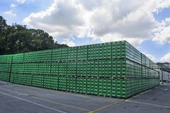 Brewery warehouse of plastic packaging. Celarevo, Serbia, June, 11,2017. `Carlcberg Pilsner` brewery in serbia and a large warehouse of empty packaging in the Royalty Free Stock Images