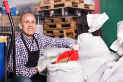 Brewery worker holding large bags Stock Images
