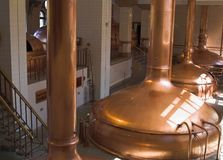 Brewery workshop. The interior of brewery workshop with copper fermentation vats Royalty Free Stock Images