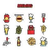 Brewing cartoon icons set. Vector illustration, EPS 10 Stock Photos