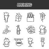 Brewing cartoon icons set. Vector illustration, EPS 10 Royalty Free Stock Photo