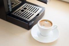 Brewing classic espresso with coffee machine Stock Image