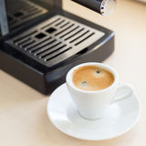 Brewing classic espresso with coffee machine Royalty Free Stock Image