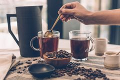 Brewing coffee Royalty Free Stock Images