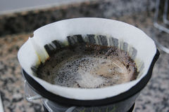 Brewing Coffee. Close up of coffee filter Stock Photography