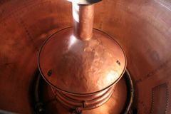 Brewing Copper. A large copper brewing vessel at the Hook Norton brewery in Oxfordshire, England Royalty Free Stock Photos