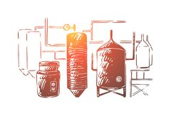 Brewing equipment, lager making process automation, brewery craft, distillery, booze factory, boiling and cooling. Alcohol production, beer fermentation royalty free illustration