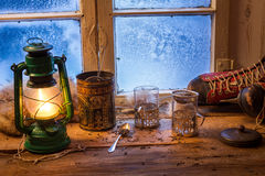 Brewing hot tea on a cold day Royalty Free Stock Images