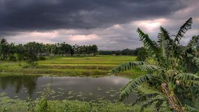 Brewing Storm Nor`wester , Bangladesh. A photo of a norwester forming in the village area in Feni Chittagong........the photo was taken from a running bus from a Royalty Free Stock Photography