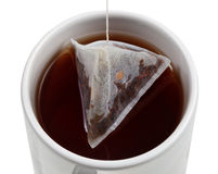 Brewing of tea in mug close up top view Royalty Free Stock Photography