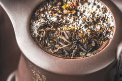 Brewing tea in the teapot horizontal Royalty Free Stock Photography