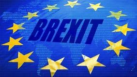 Brexit、欧盟旗子和世界地图 库存图片