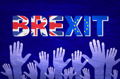 Brexit文本传染媒介手 英国的欧共体的旗子 库存图片