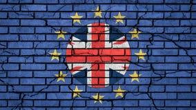 Brexit英国在欧盟星里面的旗子在蓝色破裂的砖墙上 向量例证