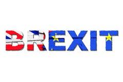 Brexit词隔绝与从欧盟欧盟和英国英国的旗子的颜色 免版税图库摄影
