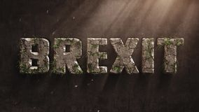 Brexit迅速变老的动画信件,并且青苔和草在哪里增长,延期,延迟概念 影视素材