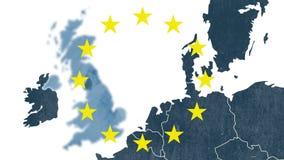 Brexit - Ηνωμένος αποκλεισμός από το δημοψήφισμα της Ευρωπαϊκής Ένωσης after 2016 - κατασκευασμένος χάρτης με 12 αστέρια ελεύθερη απεικόνιση δικαιώματος