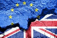 Brexit, σημαία του Ηνωμένου Βασιλείου και της Ευρωπαϊκής Ένωσης Στοκ Εικόνες