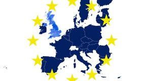 Brexit -在白色背景的欧盟蓝色地图与12个符号黄色星-英国在蓝色蒸汽蒸发 皇族释放例证