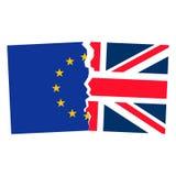 Brexit 欧盟和英国的被分离的旗子 库存图片