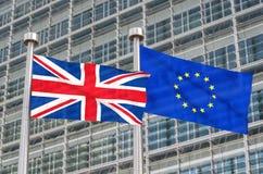 Brexit -英国和欧洲旗子 免版税库存照片