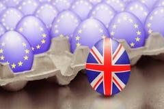 Brexit的概念从与英国旗子的跳跃的鸡蛋被提出在箱子外面用与欧盟的旗子的鸡蛋 免版税库存图片