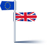 Brexit background with flags. Royalty Free Stock Photo