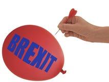 BREXIT-ballon om te gaan pop klap, - politieke die metafoor, op witte achtergrond wordt geïsoleerd royalty-vrije stock afbeelding