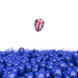 Brexit balloon flight. 3D illustration of EU balloons and UK flag balloon floating free Royalty Free Stock Images