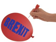 BREXIT balloon to go bang, pop - political metaphor, isolated on white background. Concept, comment on current affairs royalty free stock image