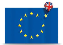Brexit - Balloon with United Kingdom removing a yellow star of the European Union flag stock illustration
