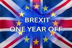 Brexit Bandeiras do Reino Unido e da União Europeia com texto um ano fora Foto de Stock