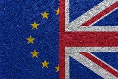 Brexit Banderas del Eu y de Reino Unido Imagen de archivo