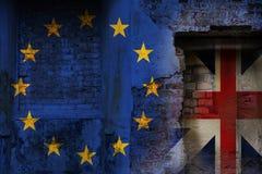Brexit, bandiere dell'Unione Europea ed il Regno Unito come OV Fotografia Stock Libera da Diritti