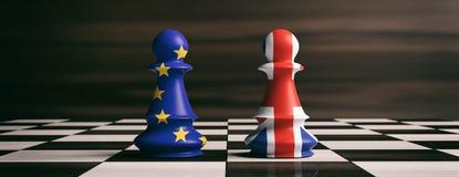 Brexit begrepp Förenade kungariket och europeiska fackliga flaggor på schack pantsätter på en schackbräde illustration 3d royaltyfri illustrationer