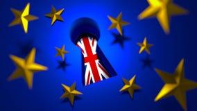 Brexit begrepp Storbritannien flagga som igenom ses en nyckelhål royaltyfri illustrationer